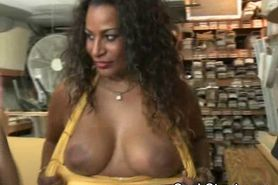 Black Girl Flashes Enormous Tits