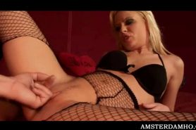 Nasty Amsterdam slut in fishnets cunt nailed hard in a