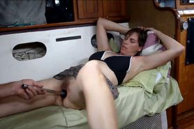 Pleasing her horny pussy with a toy