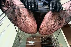POV of a dominant female in fishnets sitting over your