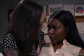 Lesbian boss anal fucks ebony employee