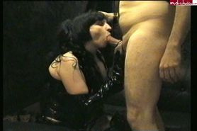 Fetish Blowjob with Cumshot on her Black Boots