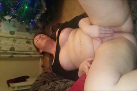 Amateur with big boobs masturbates