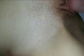 Cumming on her pussy - closeup