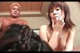 Slutty Japanese MILF fucked doggy and mouth nailed in 4