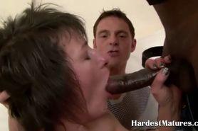Hardcore mature slut fucks two