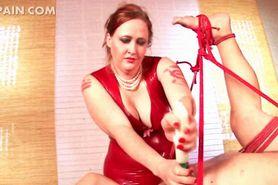 Cock torture for mature blindfolded sex slave