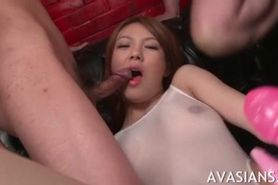 Stocking asian slut cummed in her pretty face