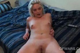 Splendid blonde mouth fucks shaft in POV