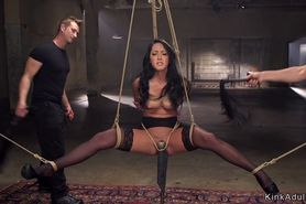 Suspended with spreaded legs sub whipped