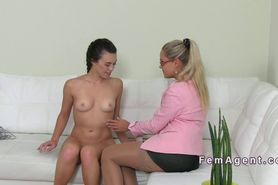 French amateur has lesbian casting on the couch