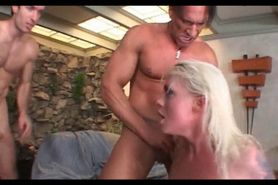 Wasted slut chokes on cocks and takes DP