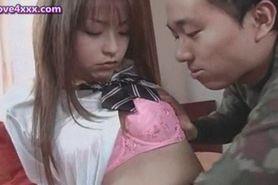Lovely asian chick doing blowjob