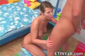Shy teen Debi takes big cock and