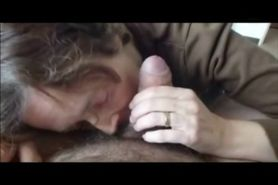 Grandma Blowing a hairy cock
