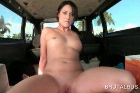 Brunette hottie humping massive dick in bus