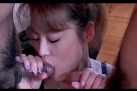 Stunning Asian temptress sucking two dicks at once in 3