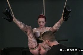 Redhead with tied up big tits bondage gagging