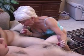 Horny Grandma Plays with Many cocks
