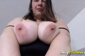 Squirting chubby mommy with G boobs