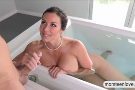 Milf punished stepson by sneaking on her
