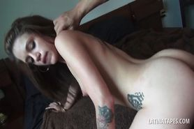 POV latina babe jumping craving penis in bed