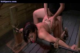 Tied up babe gets clit rubbed