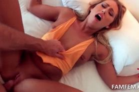 Blonde tied to the bed enjoying hardcore sex in a hotel