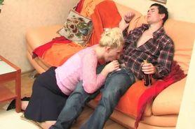 Russian Milf take advantage on drunken boy