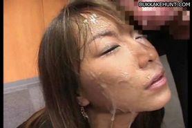 Mosaic: Asian bukkake face full of cum