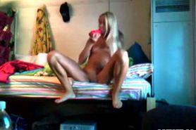 Blonde tan college girl masturbates in dorm room