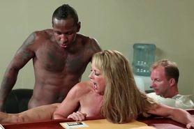 Blonde hooker takes black dick