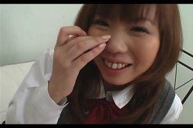 Innocent jap girl in school uniform flashes panties ups