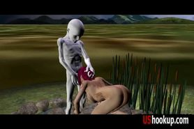 3D redhead fucked by an alien part