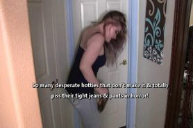 Desperate to pee girls pissing their tight jeans pants