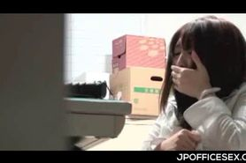 Japanese office cutie gets pussy licked under the work