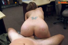 Nasty whore selling guy in a pawn shop