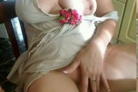 Busty hot milf fingers her pussy