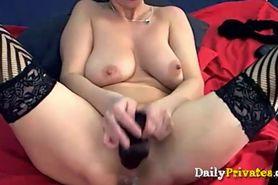 Busty blonde cougar Emanuelle cums