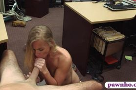 Skinny blond ho sells her car and banged
