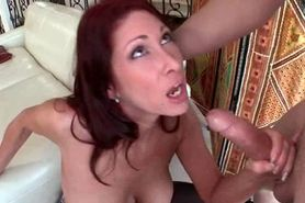 MILF fellates huge cock and gets pumped