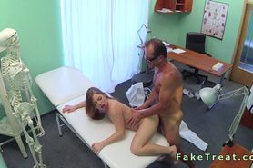 Doctor fuck brunette patient on the desk