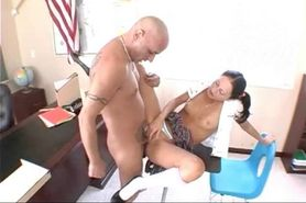 Chick gets mouth and twat fucked