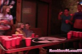 College beer pong game ends up in a nasty sex fest