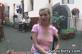 Blonde Flashing Tits On Public Patio