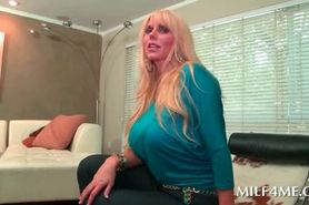 Seductive MILF gets huge boobs played with
