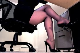 Ignored by her sheer black pantyhose feet and high heel