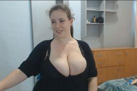 Young housewife milks her big beautiful tits