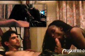 Sex addict afro bitch sucking white penis