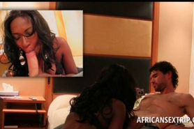African doll on knees orally pleasing shaft